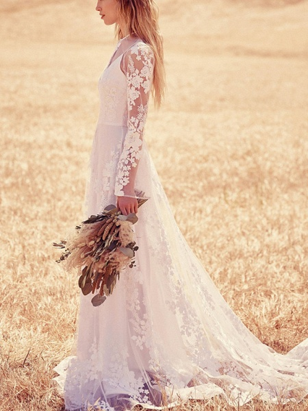 A-Line Jewel Neck Sweep \ Brush Train Lace Long Sleeve Beach Illusion Sleeve Wedding Dresses_5