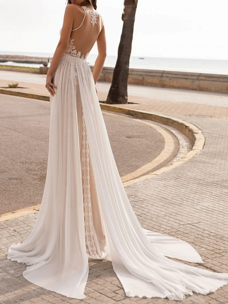 A-Line Wedding Dresses Halter Neck Sweep \ Brush Train Chiffon Sleeveless Beach Sexy See-Through_3