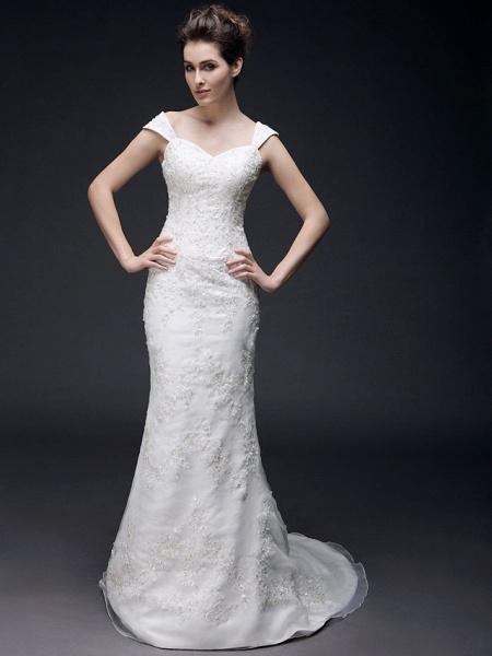 Mermaid \ Trumpet Off Shoulder Sweetheart Neckline Sweep \ Brush Train Organza Satin Short Sleeve Wedding Dresses_2