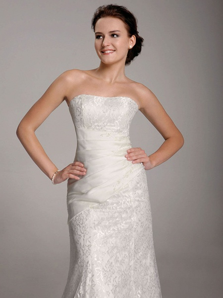 Mermaid \ Trumpet Wedding Dresses Straps Floor Length Lace Short Sleeve See-Through_7