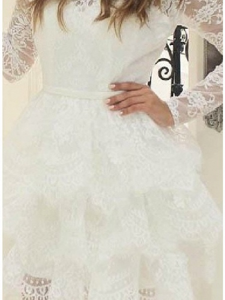 Ball Gown Wedding Dresses Jewel Neck Short \ Mini Lace Tulle Long Sleeve Casual Little White Dress See-Through_3