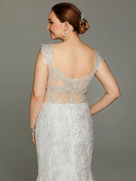 Mermaid \ Trumpet Wedding Dresses V Neck Court Train Lace Sleeveless Open Back See-Through_7