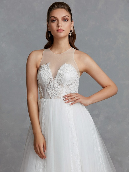 A-Line Wedding Dresses Jewel Neck Court Train Lace Tulle Regular Straps Glamorous See-Through Backless_7