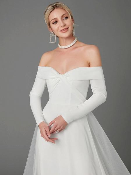 A-Line Wedding Dresses Off Shoulder Chapel Train Chiffon Tulle Long Sleeve Sexy_9