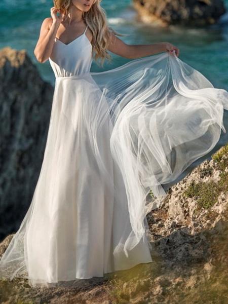 A-Line Wedding Dresses V Neck Spaghetti Strap Floor Length Chiffon Tulle Sleeveless Beach Sexy Wedding Dress in Color_1