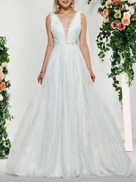 A-Line V Neck Sweep \ Brush Train Lace Tulle Sleeveless Sexy Backless Wedding Dresses_1