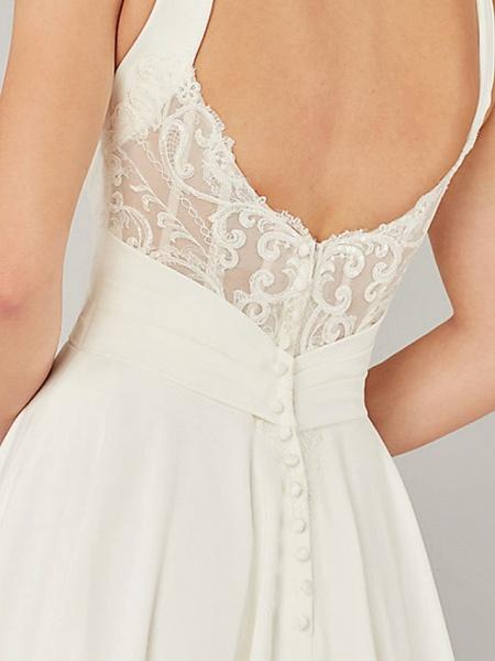 A-Line Wedding Dresses V Neck Sweep \ Brush Train Chiffon Sleeveless Country Plus Size_3
