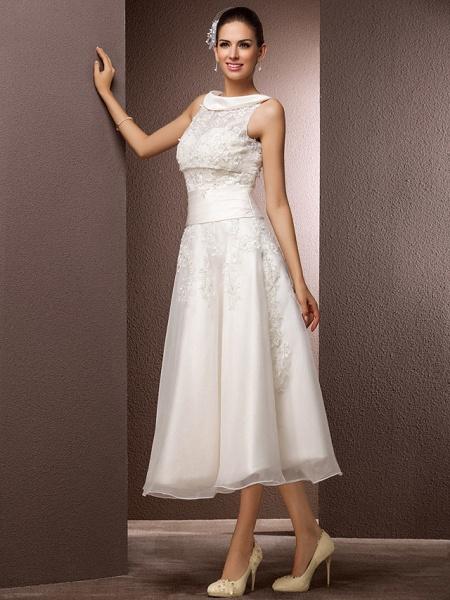 A-Line Wedding Dresses Bateau Neck Tea Length Organza Floral Lace Regular Straps Formal Casual Illusion Detail_3