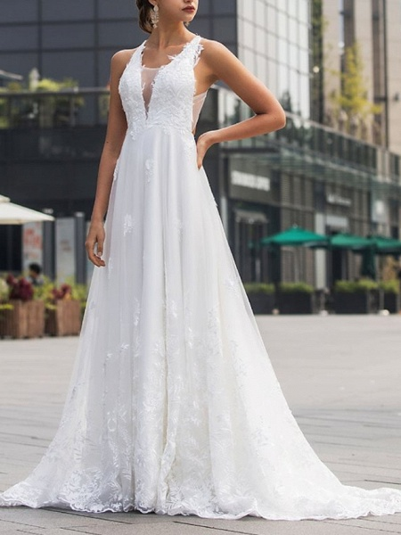 A-Line Wedding Dresses V Neck Sweep \ Brush Train Lace Tulle Sleeveless Beach Sexy Backless_3