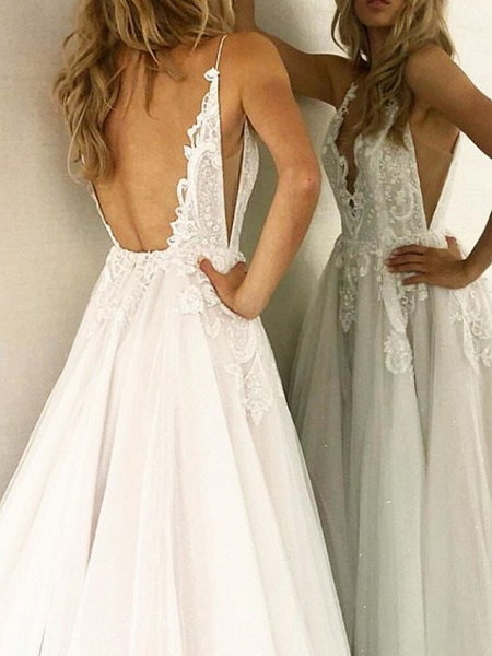 A-Line Wedding Dresses V Neck Sweep \ Brush Train Lace Tulle Sleeveless Sexy Backless_3