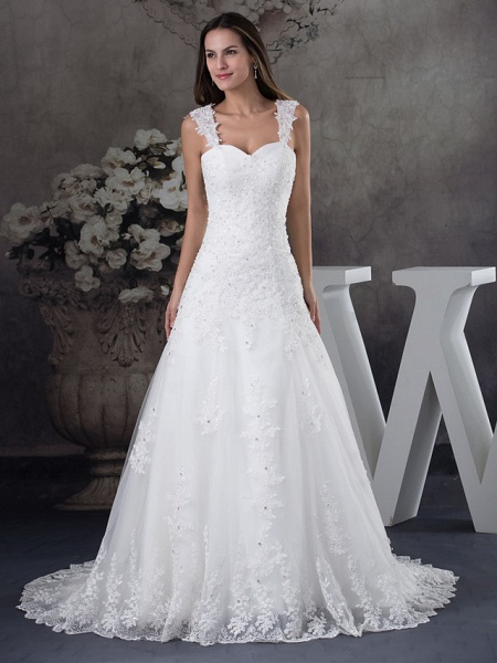 A-Line Sweetheart Neckline Chapel Train Lace Tulle Spaghetti Strap Wedding Dresses_1