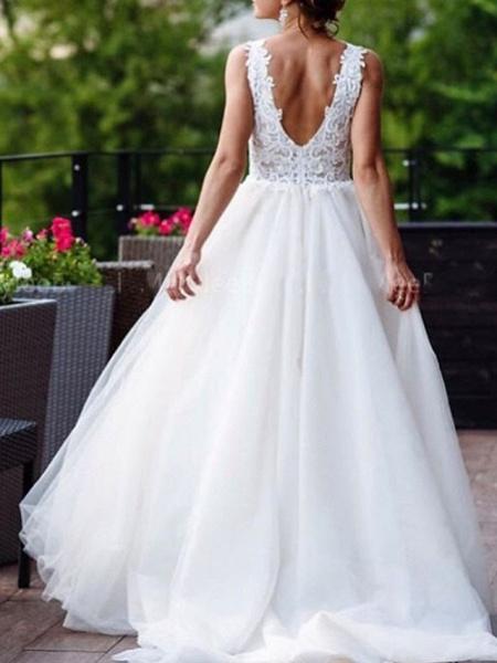 Lt8036472 V-neck A-line Romantic Bohemian Wedding Dresses 2021_2