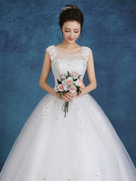 Ball Gown Wedding Dresses Scoop Neck Floor Length Satin Tulle Cap Sleeve Romantic See-Through Backless_5