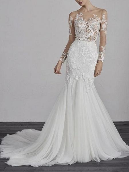 Mermaid \ Trumpet Wedding Dresses Jewel Neck Court Train Lace Tulle Long Sleeve Boho Illusion Sleeve