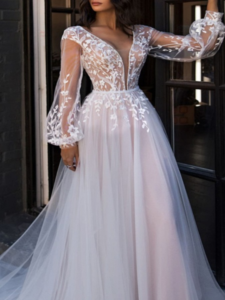 A-Line V Neck Sweep \ Brush Train Lace Tulle Long Sleeve Beach Sexy See-Through Wedding Dresses_3