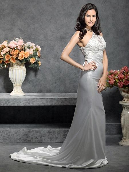 Mermaid \ Trumpet Wedding Dresses Halter Neck Court Train Stretch Satin Sleeveless_4
