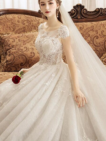 Ball Gown Jewel Neck Watteau Train Lace Tulle Polyester Short Sleeve Romantic Wedding Dresses_7