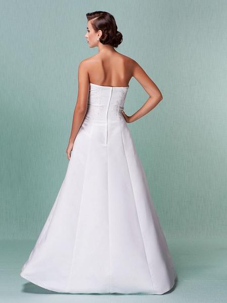 A-Line Wedding Dresses Strapless Floor Length Lace Over Satin Strapless Formal Simple Vintage Little White Dress Plus Size_2