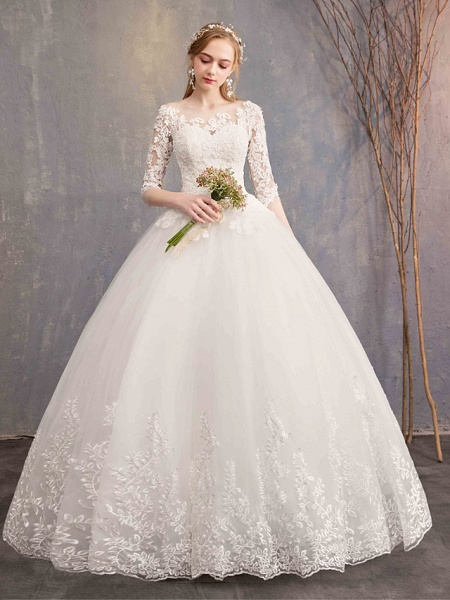 Ball Gown Wedding Dresses Bateau Neck Maxi Lace Tulle Half Sleeve Glamorous Illusion Sleeve_2