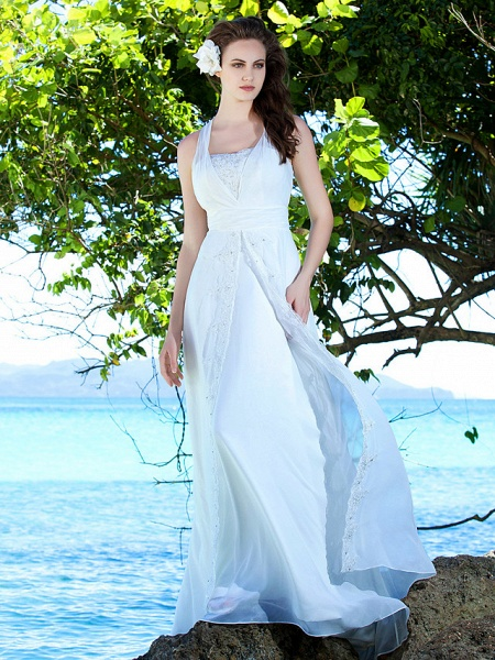 Sheath \ Column Wedding Dresses Straps Sweep \ Brush Train Chiffon Sleeveless_1