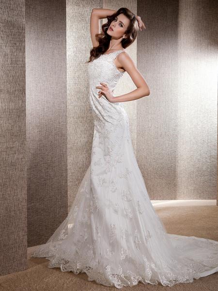 Mermaid \ Trumpet Wedding Dresses Scoop Neck Sweep \ Brush Train Lace Tulle Sleeveless_10