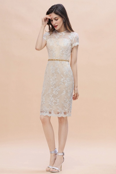 Tulle Lace Beads Belt Short Sleeves Mother of Bride Dress_5