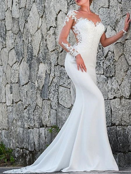 Mermaid \ Trumpet Wedding Dresses Jewel Neck Sweep \ Brush Train Polyester Long Sleeve Sexy Backless Illusion Sleeve_1