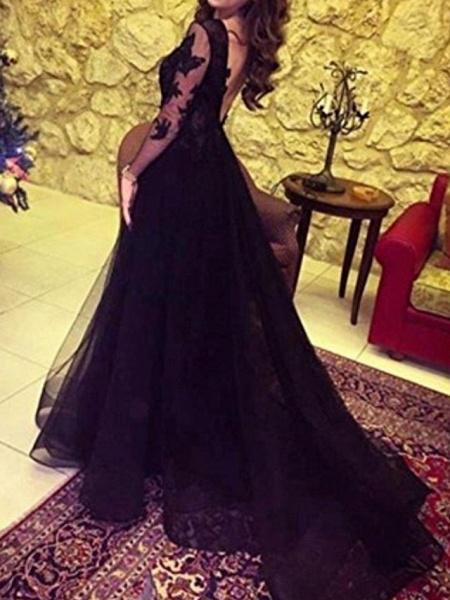 A-Line Wedding Dresses Bateau Neck Sweep \ Brush Train Lace Long Sleeve Formal Black Red_2
