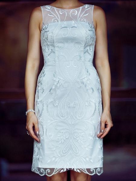 Sheath \ Column Wedding Dresses Bateau Neck Knee Length Metallic Lace Sleeveless Little White Dress See-Through_7