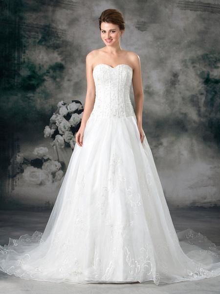 A-Line Sweetheart Neckline Court Train Organza Satin Strapless Plus Size Wedding Dresses_1