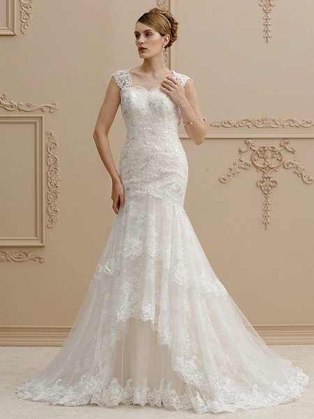 Mermaid \ Trumpet Square Neck Court Train Lace Over Tulle Regular Straps Wedding Dress in Color Floral Lace See-Through Wedding Dresses_1