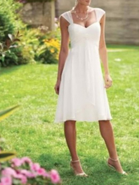 A-Line Wedding Dresses Scoop Neck Knee Length Chiffon Taffeta Sleeveless Country Plus Size_1