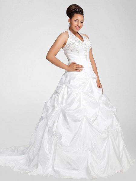 Ball Gown V Neck Court Train Taffeta Regular Straps Glamorous Vintage Plus Size Backless Wedding Dresses_9