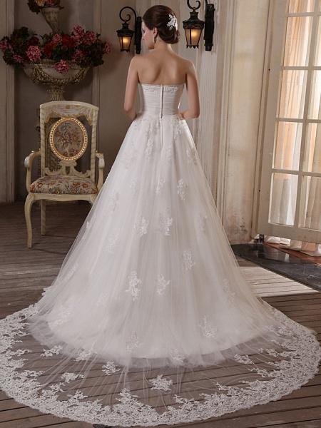 Princess A-Line Strapless Scalloped-Edge Chapel Train Satin Tulle Sleeveless Wedding Dresses_3