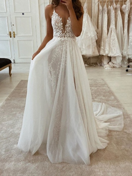 Two Piece A-Line Wedding Dresses V Neck Spaghetti Strap Sweep \ Brush Train Tulle Polyester Sleeveless Country Plus Size_3