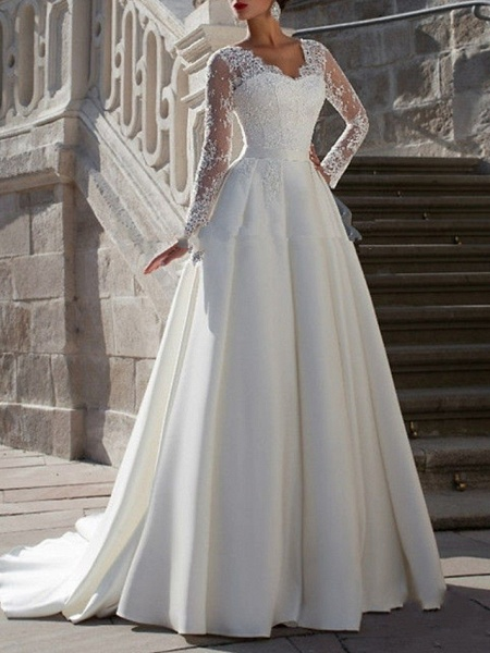 A-Line Wedding Dresses V Neck Sweep \ Brush Train Tulle Long Sleeve Formal Plus Size Illusion Sleeve_1
