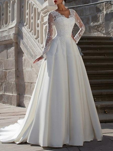 A-Line Wedding Dresses V Neck Sweep \ Brush Train Tulle Long Sleeve Formal Plus Size Illusion Sleeve_1