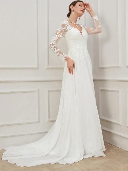 Sheath \ Column Wedding Dresses V Neck Sweep \ Brush Train Lace Tulle Long Sleeve Formal Plus Size Illusion Sleeve_1