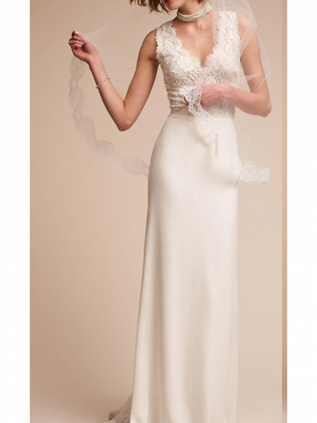 Sheath \ Column V Neck Court Train Lace Regular Straps Country Wedding Dresses_1