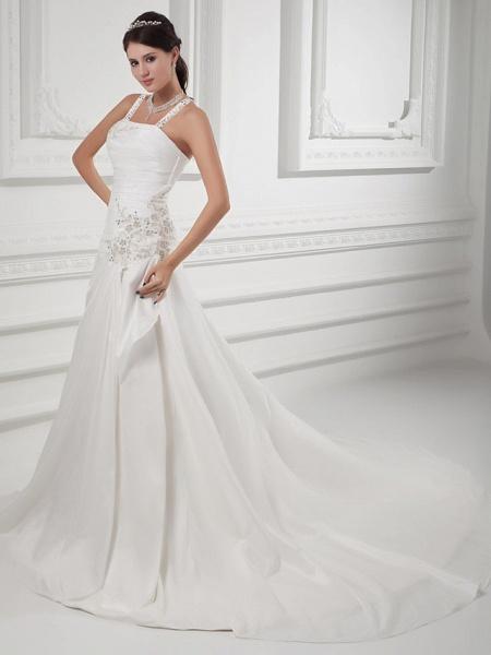 A-Line Square Neck Court Train Satin Taffeta Spaghetti Strap Wedding Dresses_2