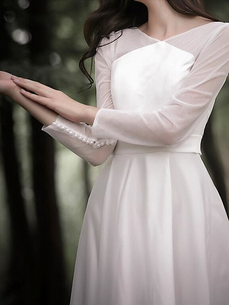 A-Line Wedding Dresses V Neck Court Train Chiffon Satin Long Sleeve Simple Elegant_5