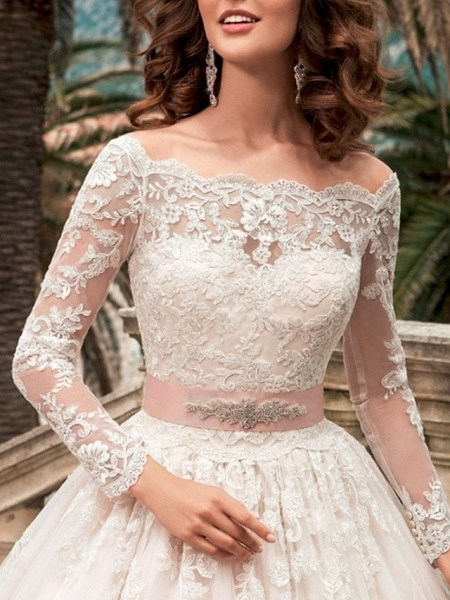 Ball Gown Wedding Dresses Off Shoulder Court Train Lace Long Sleeve Formal_3