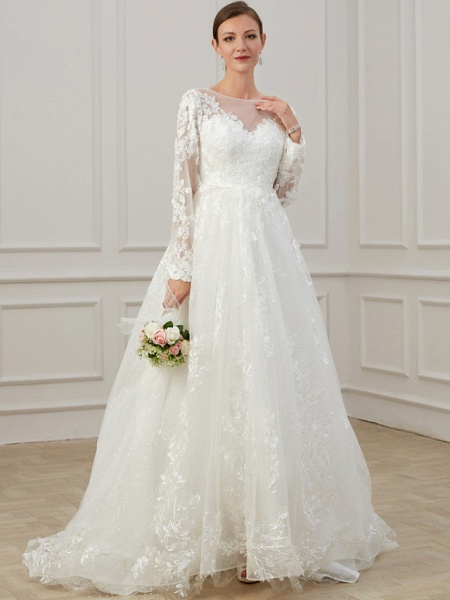 A-Line Jewel Neck Sweep \ Brush Train Lace Tulle Long Sleeve Beach Plus Size Illusion Sleeve Wedding Dresses_4