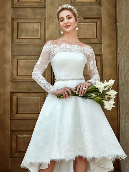 A-Line Wedding Dresses Off Shoulder Asymmetrical Lace Long Sleeve Casual Plus Size Illusion Sleeve_14