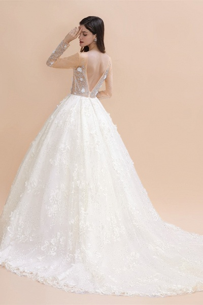 Floral Jewel Beads Long Sleeve Ball Gown Wedding Dresses_3