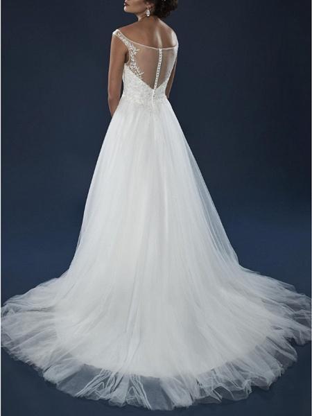 A-Line Wedding Dresses Off Shoulder Court Train Lace Tulle Short Sleeve_3
