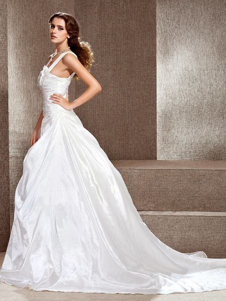 Princess A-Line Wedding Dresses One Shoulder Cathedral Train Taffeta Sleeveless_2