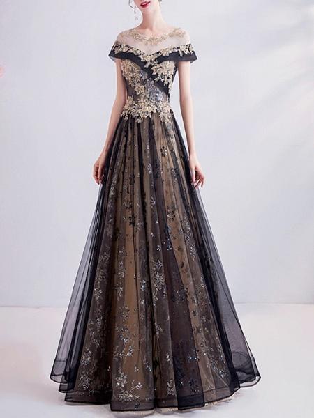 A-Line Wedding Dresses Jewel Neck Sweep \ Brush Train Chiffon Tulle Sleeveless Formal Plus Size Black_2