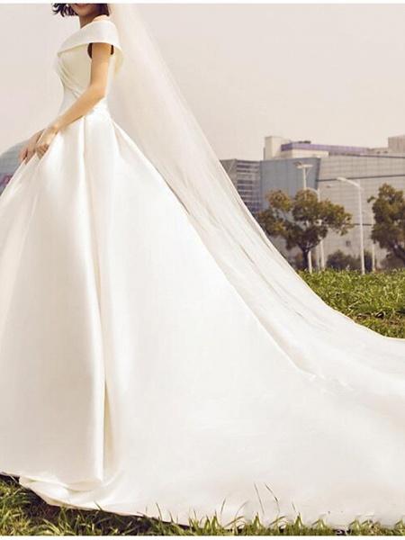 Ball Gown A-Line Wedding Dresses Off Shoulder Floor Length Satin Sleeveless Simple_3