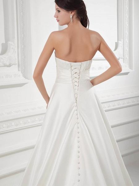A-Line Sweetheart Neckline Court Train Satin Strapless Wedding Dresses_5